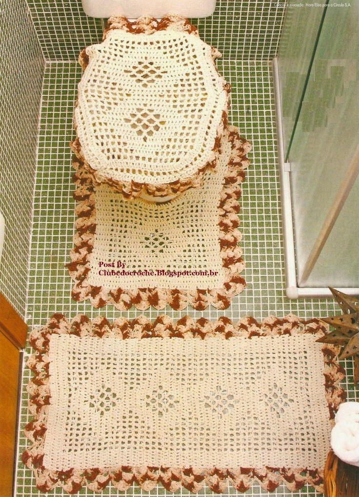 Crochet bathroom set ❤️LCB-MRS❤️ with diagrams ------ Clube do Crochê: Jogo de Banheiro Cru e marrom mesclado (com gráfico)