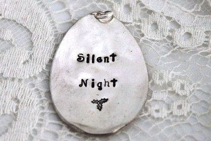 Personalized Silent Night VINTAGE SPOON ORNAMENT Christmas Ornament Silverware We Can Stamp The Year And Family Name To Personalize
