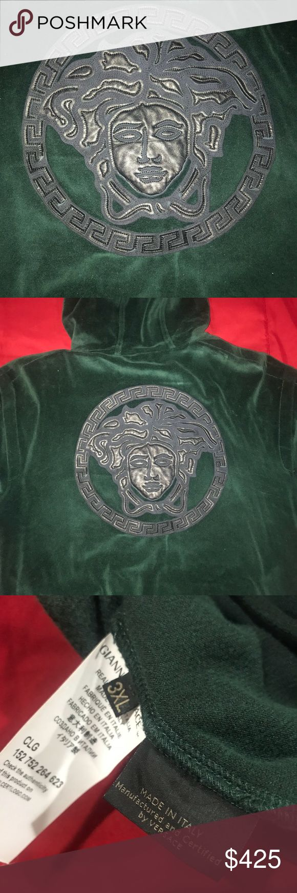 Green Medusa Versace Hoody Emerald Green Versace Hoody   Size 3XL   Like new.   Purchased in Las Vegas Versace Store   Can be bought with sweatpants for bundle deal   Offers are welcome Versace Sweaters Zip Up