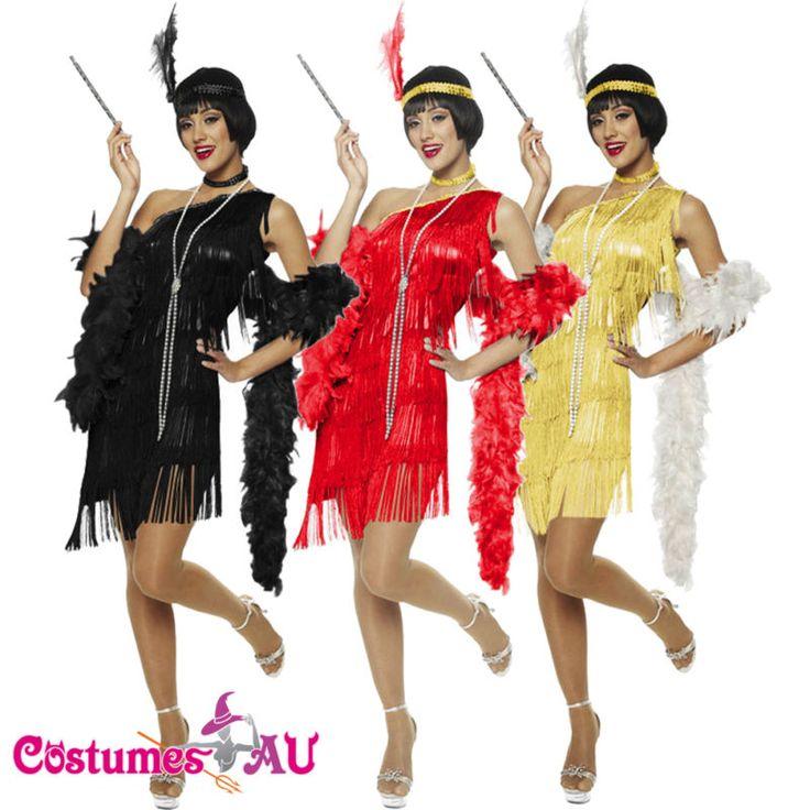 20s 1920s Charleston Black Red Flapper Fancy Dress Costume Feather Boa Headband