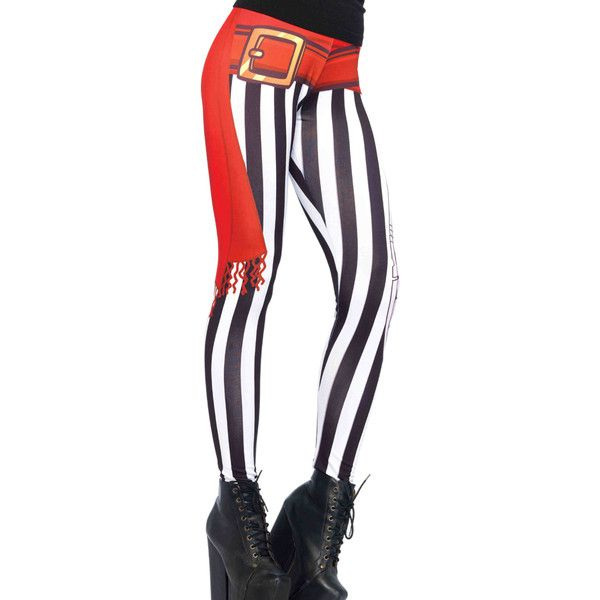 Swashbuckler stripy print leggings with sash and sword detail ($30) ❤ liked on Polyvore featuring pants, leggings, blackwhite, white legging pants, patterned leggings, white pants, white leggings and print pants