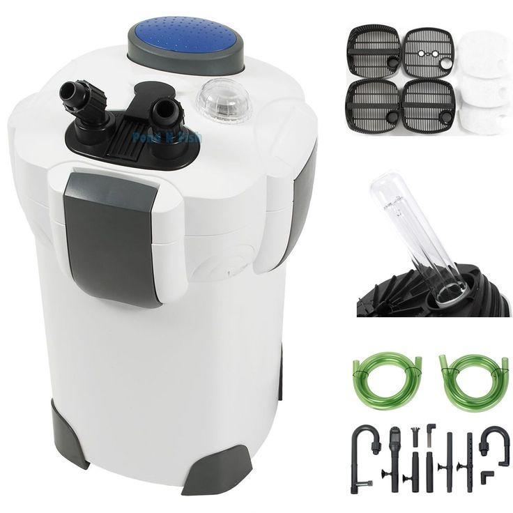 100 Gallon Aquarium Fish Tank Canister Filter  9W UV Sterilizer 370 GPH