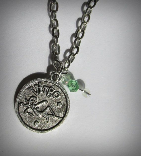 Virgo Birthstone Necklace Antique Silver Zodiac by IsleOfCraftin, $9.25