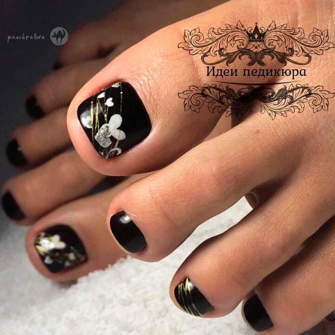 Black Toe Nails With Hearts