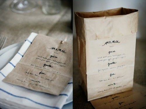 This would be great for a DIY box lunch for a corporate event.  Grab a bag...Check out the menu...Pick out your favorites.