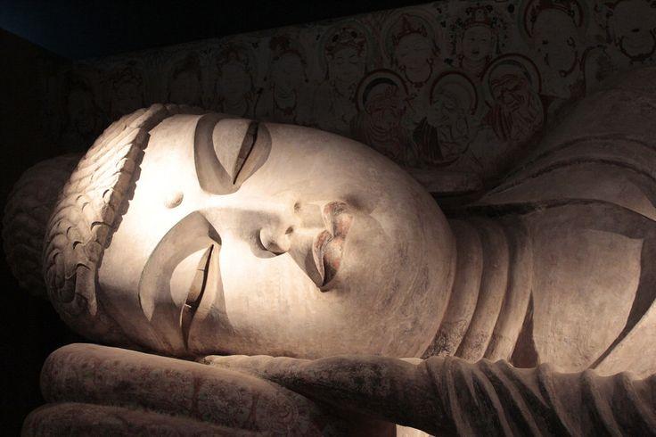 Stucco statue of Buddha in Nirvana