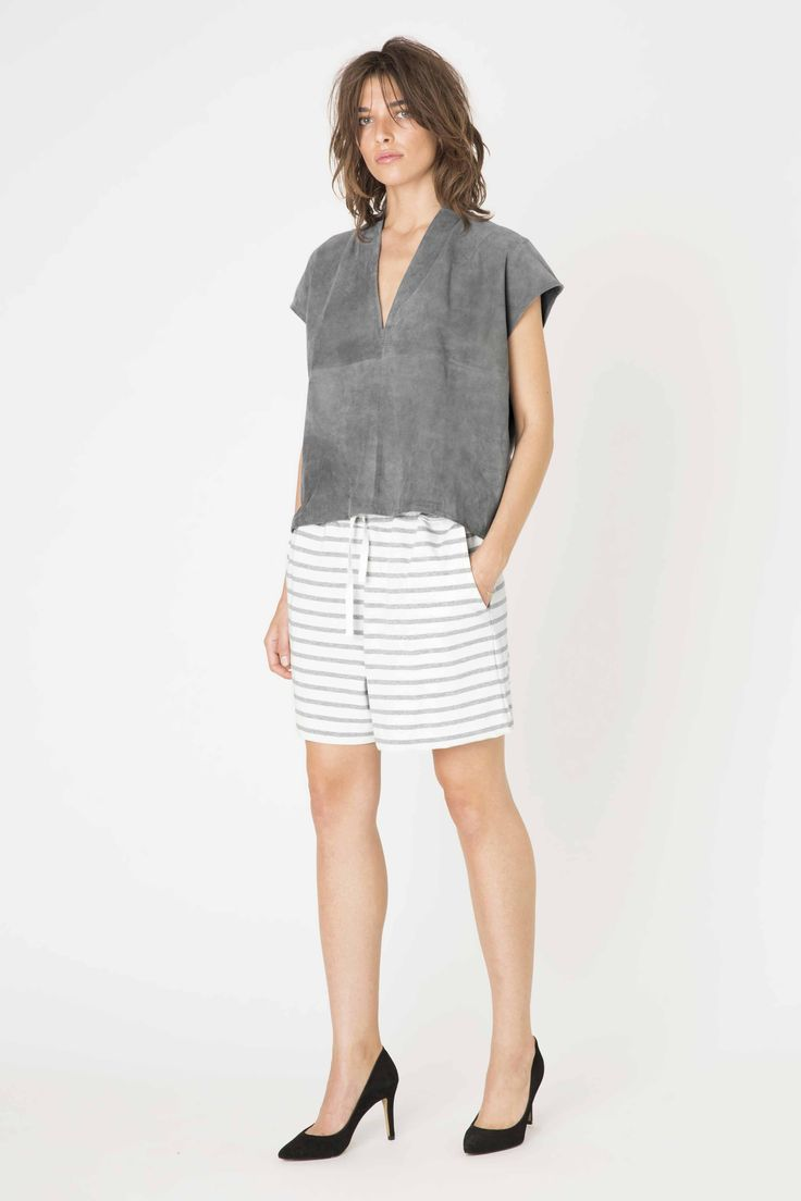 Malvina Suede blouse & Old Spice Jersey Shorts from Ganni Spring/ Summer 2015 collection.