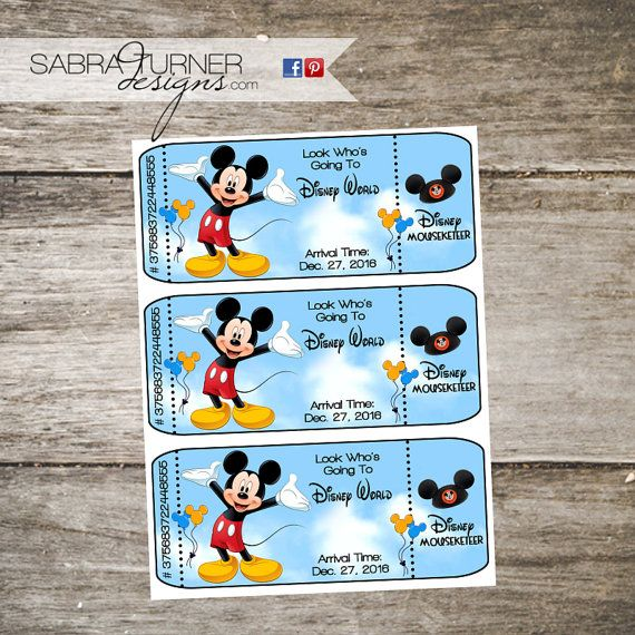 Surprise Disney Trip Disney World Tickets by SabraTurnerDesigns
