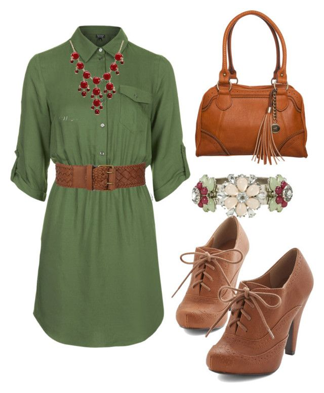 Shannon by christyking863 on Polyvore featuring polyvore fashion style Topshop Anna Field Torrid BCBGMAXAZRIA clothing GREEN dress brown