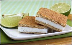 Hungry Girl Frozen Key Lime Pie Sandwiches: 128 Calories Each and EASY to Make! /2 cup fat-free plain Greek yogurt, sugar, key lime juice and  graham crackers.