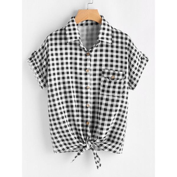 Gingham Print Knot Front Cuffed Shirt With Chest Pocket ($11) ❤ liked on Polyvore featuring tops, black and white, short sleeve shirts, short-sleeve shirt, black white plaid shirt, black and white plaid shirt and button collar shirt