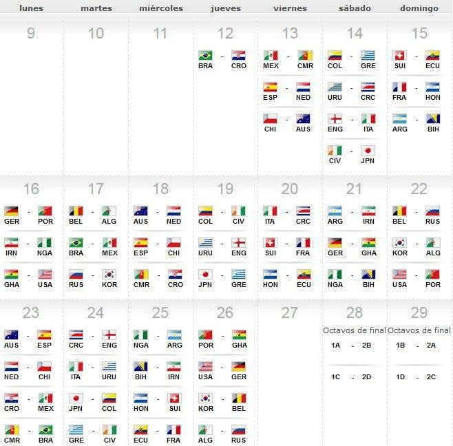 Calendario juegos mundial de Brasil 2014