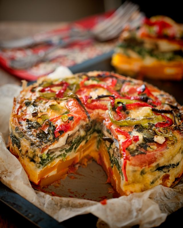 Layered Veggie Stack.  Doesn't this look yummy? I'm thinking smaller loaf pan size for just the two of us.  If we like it, once it's the whole family is together or company or a get together, the one pictured here will be making an appearance.