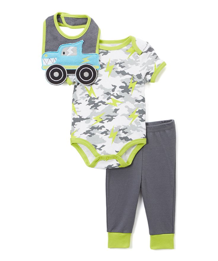 Look at this Gray Camo & Light Green Monster Truck Bodysuit Set on #zulily today!