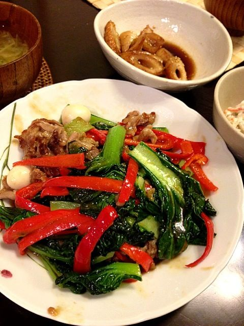 【今日のごはん】 ターサイと豚肉の中華炒め ちくわの甘辛煮 ごぼうサラダ 大根と水菜の味噌汁  と、オールフリー - 3件のもぐもぐ - ターサイと豚肉の中華炒め by あーちゃん