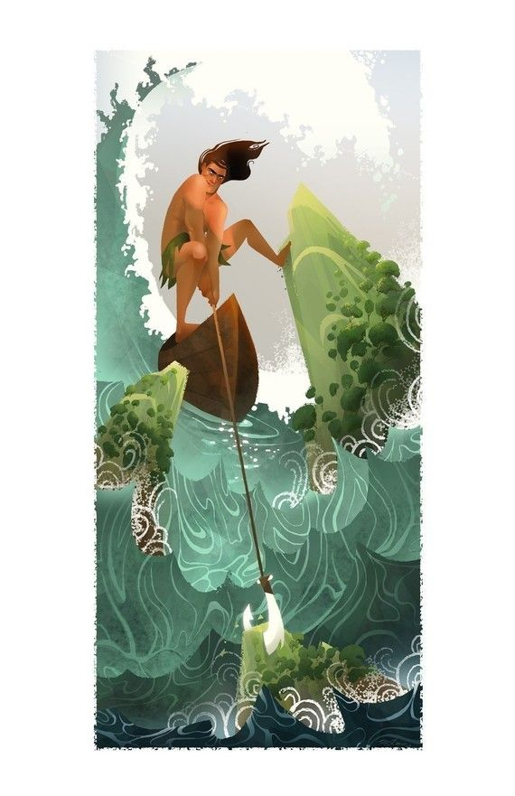 One of two new additions to my Hawaiian Gods and Goddesses series.    Maui is a demi-god who is responsible for fishing the Hawaiian islands out of