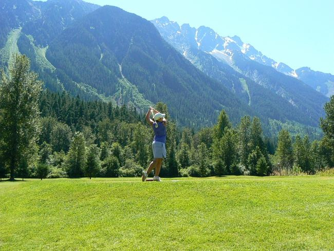 Majestic Mt Currie looms above the Meadows at Pemberton 18-hole championships golf course.