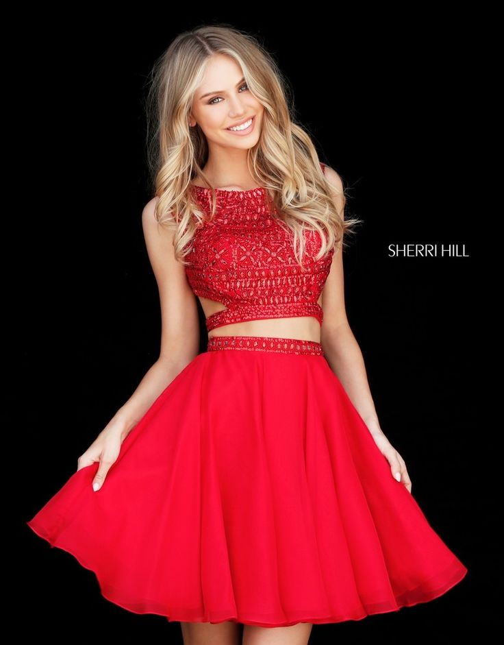 Two-piece Sparkle 2017 Sherri Hill Homecoming Gown. Available at Bridal and Formal's Club Dress Cincinnati OH @bfclubdress (513)821-6622