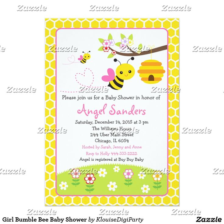 Girl Bumble Bee Baby Shower Card