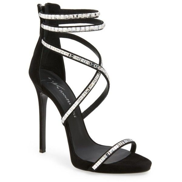 Women's Giuseppe For Jennifer Lopez Strappy Sandal ($1,495) ❤ liked on Polyvore featuring shoes, sandals, zanotti, black, black stiletto sandals, ankle strap stilettos, black strappy stilettos, strappy stilettos and ankle wrap sandals