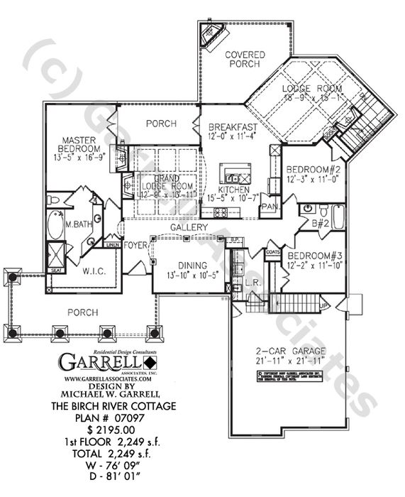 Mountain Craftsman House Plans: Birch River Cottage House Plan 07097, 1st Floor Plan
