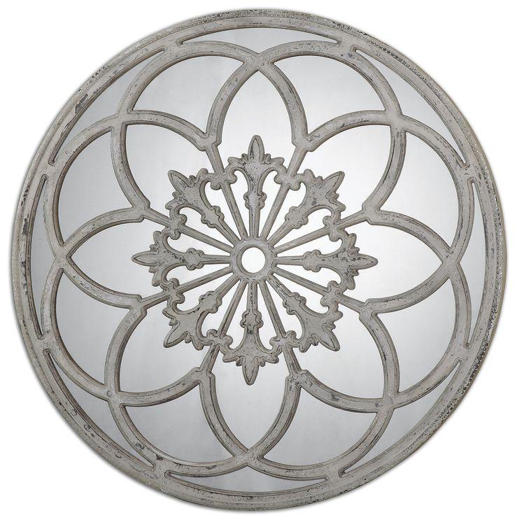 Distressed Round Decorative Mirror