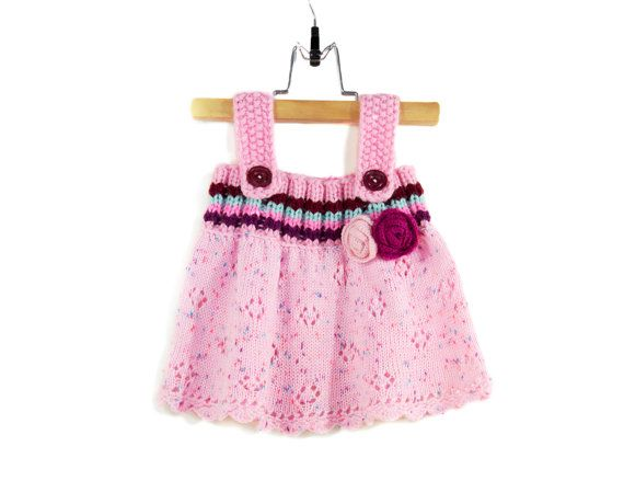 Knitted Baby Dress  Pink 6  9 months by SasasHandcrafts on Etsy