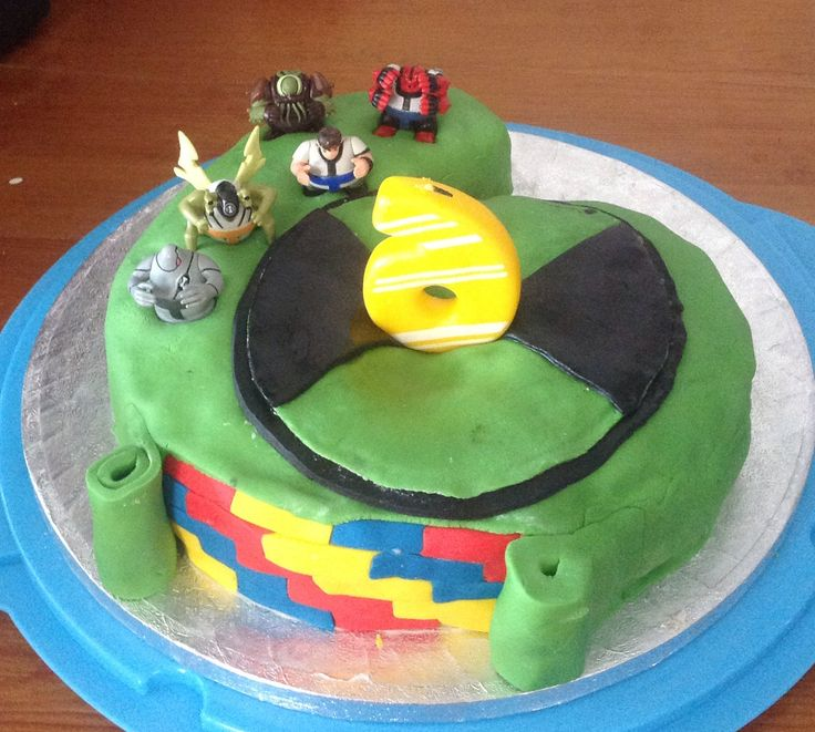 Ben 10 number 6 cake with lego brick icing
