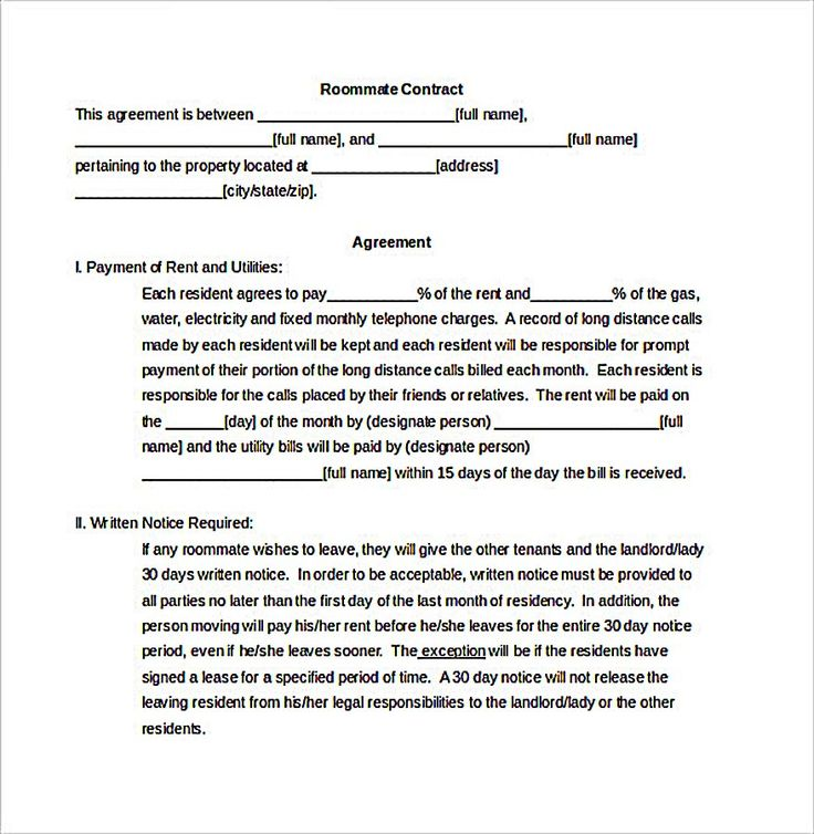 25 best ideas about Roommate agreement – Contract Between Two People