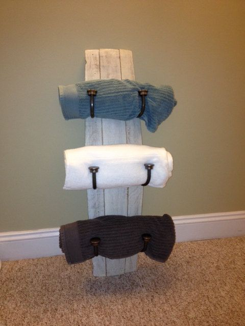 Wine Barrel Stave Towel Rack with Antique Finish - For the guest bath