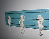 Mermaid / Seahorse Towel Coat Rack / Beach Home Decor /  Aqua Shabby Chic Wall Hook Rack/ Nautical Bathroom
