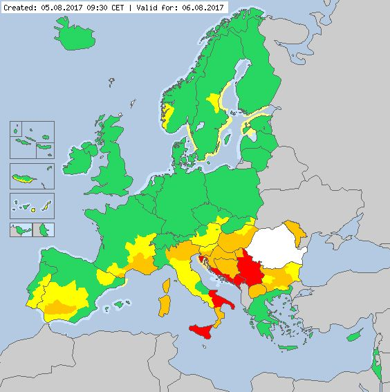 Valid for 06.08.2017 Meteoalarm - severe weather warnings for Europe - Mainpage