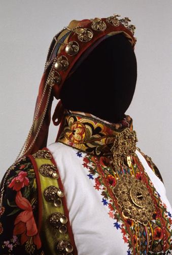Traditional Bridal Costume with Jewelry & Ornaments from East Telemark, Norway