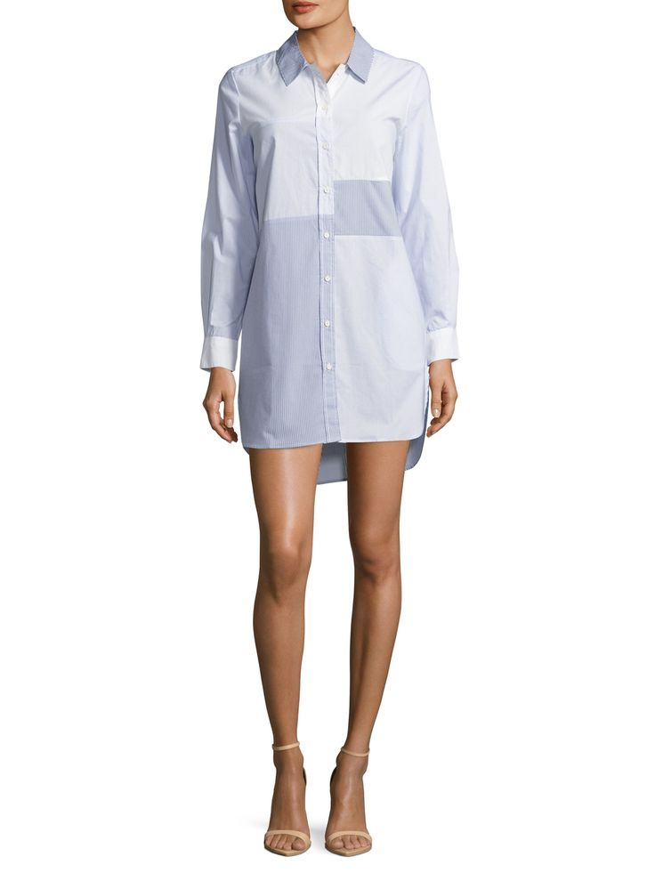 French Connection City Cotton Striped Shirtdress