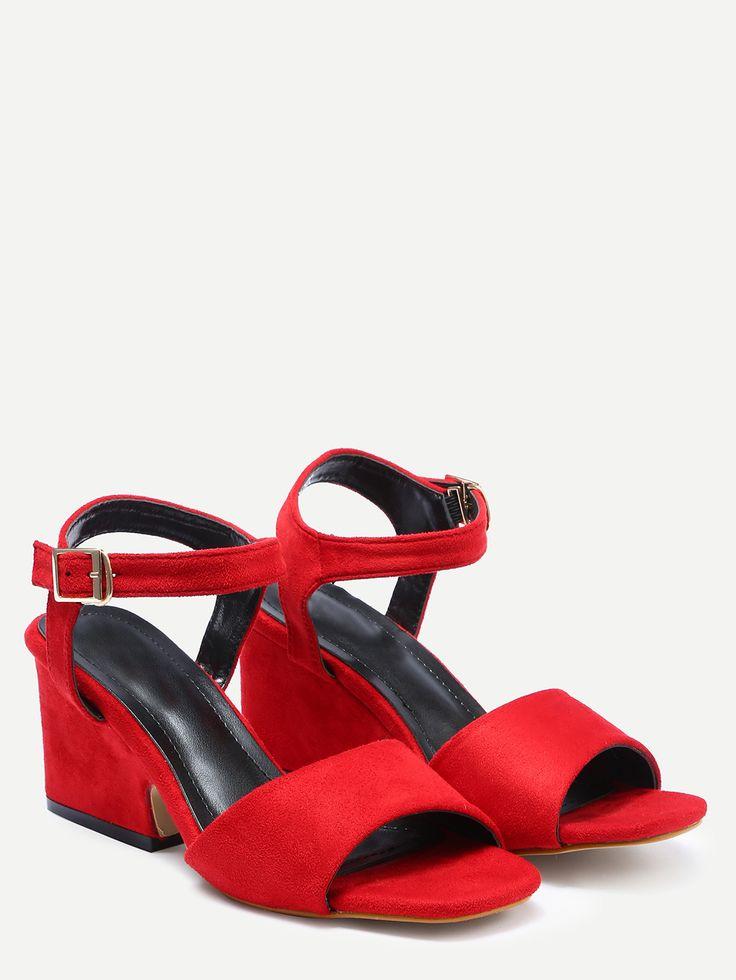 Красные замшевые сандалии на платформе