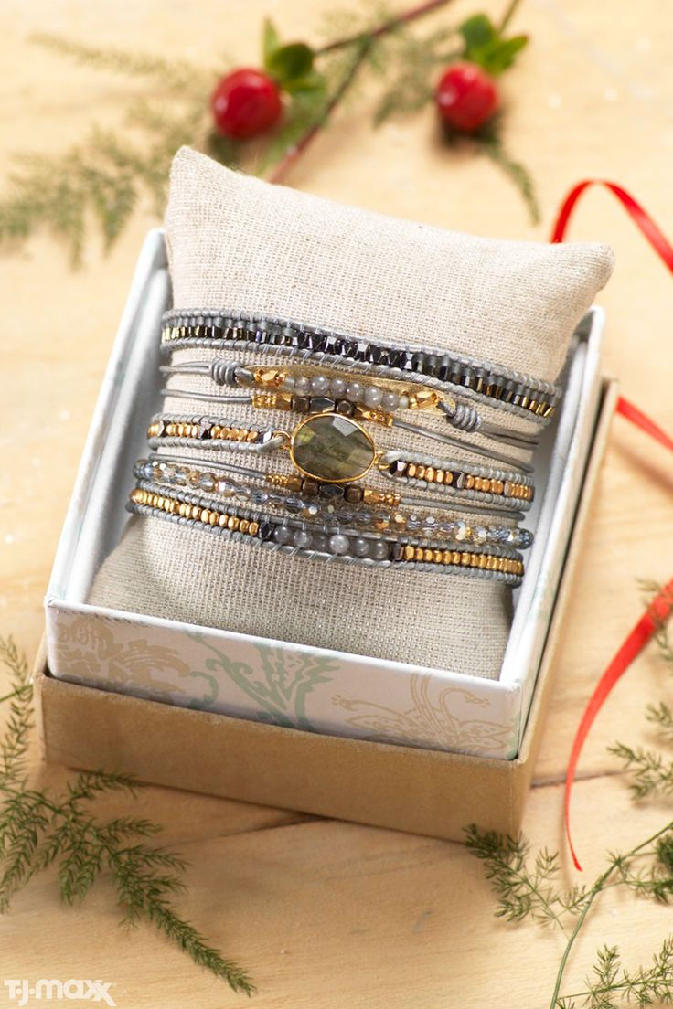 Boho Chic Gift Idea Delicate Wrap Bracelets With Mixed Metallics And Perfectly Imperfect Gemstones Tj Maperfectly