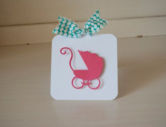 Pram Baby Carriage Invitations Turquoise Pink by CardinalBoutique, $74.00