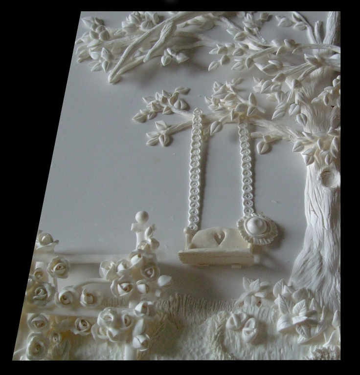 3d Relief Sculpture Of A Cottage Rose Garden And Tree