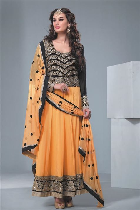 Beautiful Evelyn Sharma Black, Peach Georgette Party Wear Anarkali Suit