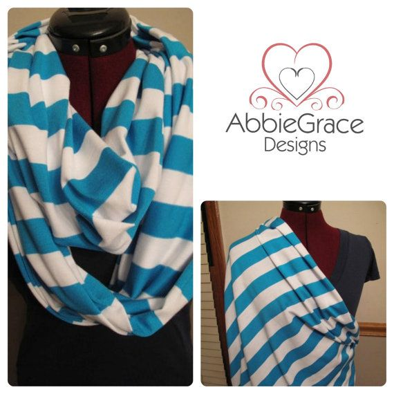 Just Between You & Me (TM) Infinity Nursing Scarf - TURQUOISE/WHITE striped nursing cover