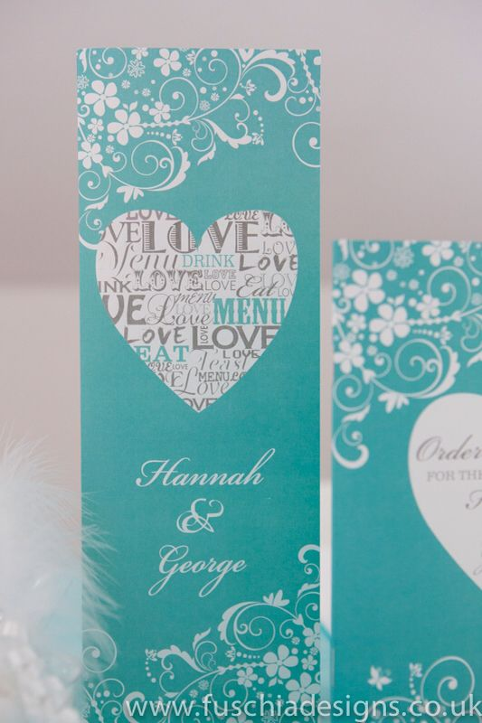Typography Heart wedding stationery collection. Personalised menu in tiffany blue colour. www.fuschiadesigns.co.uk