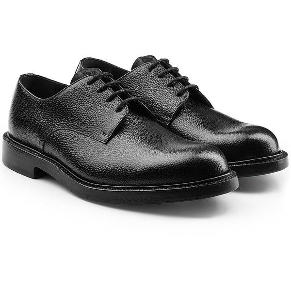 CALVIN KLEIN 205W39NYC Leather Lace-Up Oxfords (£800) ❤ liked on Polyvore featuring men's fashion, men's shoes, men's oxfords, black, mens black oxford shoes, mens leather lace up shoes, mens black shoes and oxford mens shoes