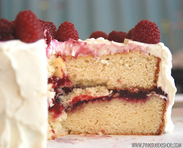 White chocolate raspberry cake - Judging by the reaction of the recipient and everyone else who ate it, it's a keeper!  If you're a white chocolate + raspberry fan, this is your cake!