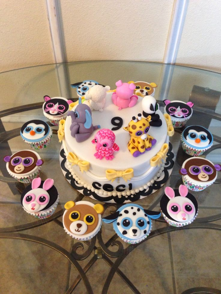 Beanie Boos Cake and Cupcakes