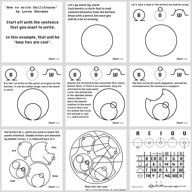 "Learn to Write Gallifreyan in 9 easy steps - Including how to write ""Bow ties are cool"""