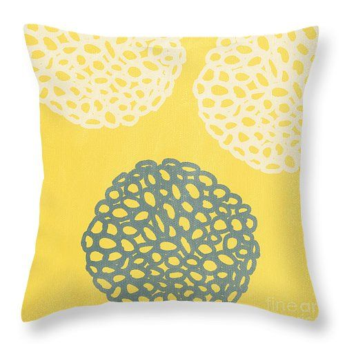 "Yellow and Gray Garden Bloom Throw Pillow 14"" x 14"" - @lindawoods on Fine Art America"