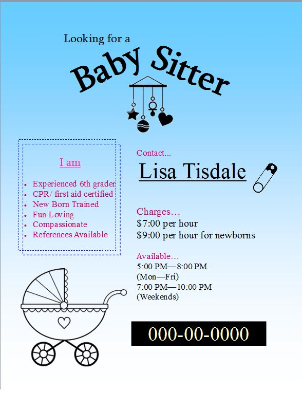 Download Free Baby Sitter Flyer easy to edit template