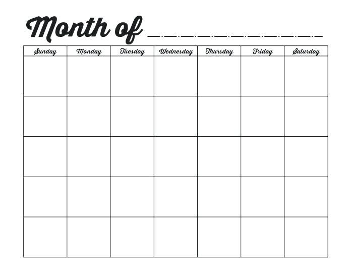 Blank Monthly Calendar Doc Template With Images Monthly