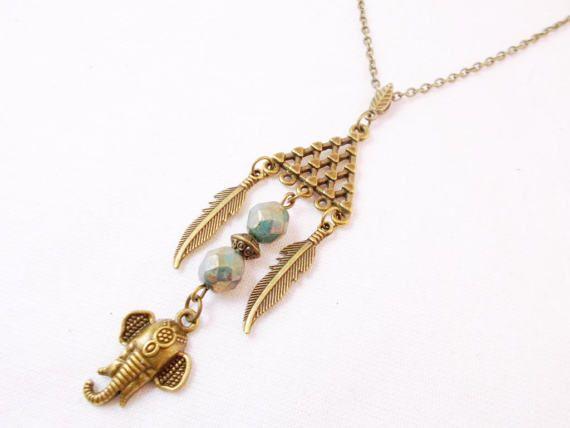 Long boho elephant beaded pendant necklace by 10dollarjewellery #longboho #elephant #india #feather