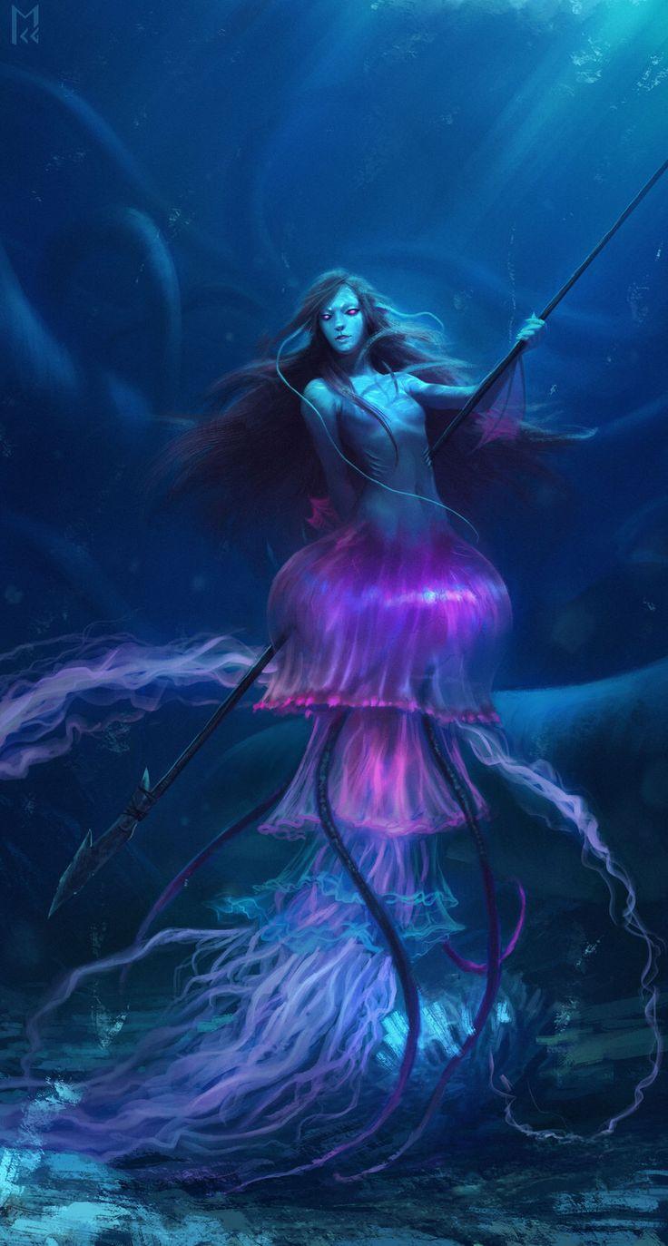Jellyfish mermaid by Castaguer93 on @DeviantArt